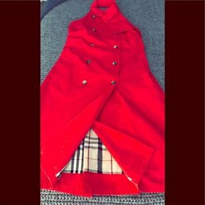 Burberry red trench halter dress open back